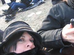Me on the ground, this laying down thing was colder than standing and hopping around! :)