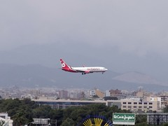 Air Berlin about to land runway 06L at Palma. Shot taken from Hotel Linda 5th floor balcony (GSairpics) Tags: from travel berlin plane airplane hotel flying airport view shot floor balcony aircraft aviation air transport flight taken can aeroplane linda land about 5th palma runway pastilla 06l gsairpics