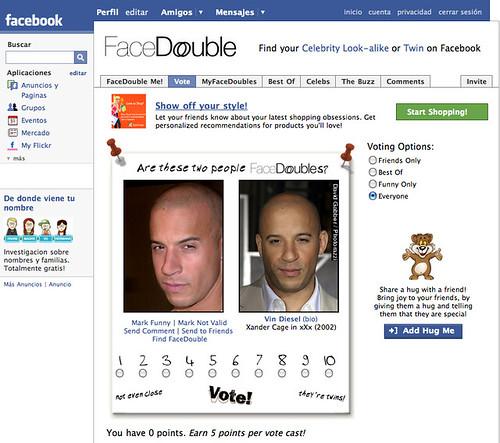 Captura de pantalla de una aplicación de terceros en Facebook
