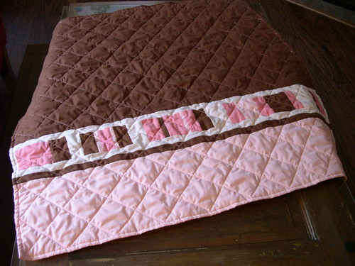 pink chocolate baby quilt