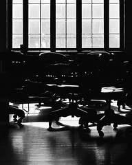 chairs in a gallery (xgray) Tags: wedding light shadow blackandwhite bw reflection film window silhouette contrast analog upload canon austin eos 50mm prime blackwhite chair university gallery texas afternoon floor chairs kodak silhouettes ef50mmf14 universityoftexas portraiture iphoto kodakbw400cn 400cn bw400cn c41 ef50mmf14usm kodakprofessionalbw400cn 1n goldsmithhall canoneos1n imagetype photospecs postedtophotographersonlj postedtobwphotographyonlj epiceditsselection