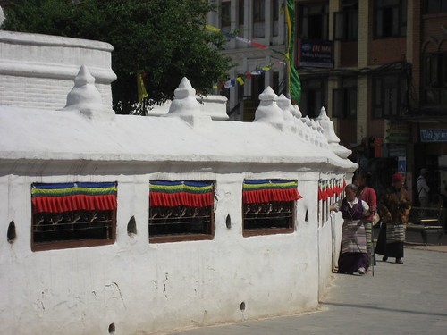 Tibetans spinning the prayer wheels