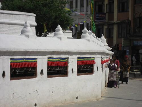 Tibetans spinning the prayer wheels