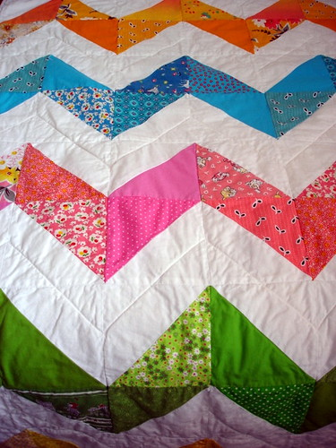 close-up of zig-zag baby quilt