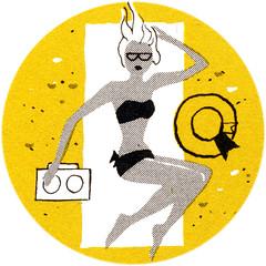 CA_sunbathing (Al Q) Tags: beach hat radio tan towel swimsuit sunbathe