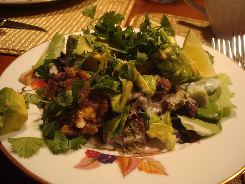 crispy black bean cake salad