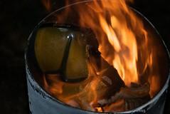 Trashcan Fire 112 (Elliott Plack) Tags: light hot phoenix dark fire shoe melting unitedstates destruction flames hell maryland rubber nike plastic burning torch heat trashcan carbon pyro crackle pyromania towson blazing zoomair buring pyrophilia