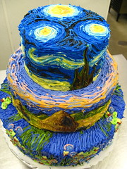 impressionist cake (megpi) Tags: california ca blue food orange brown moon green art cakes water yellow cake night work stars landscape dessert design la losangeles day baker lily haystacks lilies waterlilies monet bakery icing hay brentwood bake vangogh impressionist frosting starrynight susiecakes staryy seenonflickr