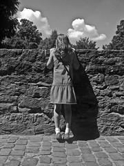 Humpty Dumpty has Fallen (The Lost American In America) Tags: trees bw white black blur castle wall germany dress little sister creative tiles fallen 16 humpty dumpty lightroom lostamericaninfrance photoshopgirl nathankellum