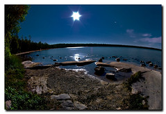 NIGHT 2 ON THE LAKE (_Val W) Tags: nightphotography nightimages shorelines beaches moonlight tobermory afterdark startrails istds2 aperfectday pentax1017fisheye valwest imgp2021 bestcampingaround crypruslakenationalpark