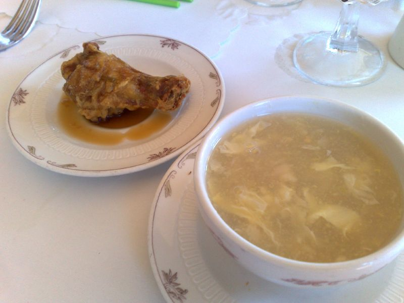Appetizers/Fried chicken leg/chicken and corn soup