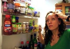 The Quintessential Dilema (silkegb) Tags: door food woman fridge mujer open comida gorda nevera dilema heladera silkegb esunafotoparallenardenotas