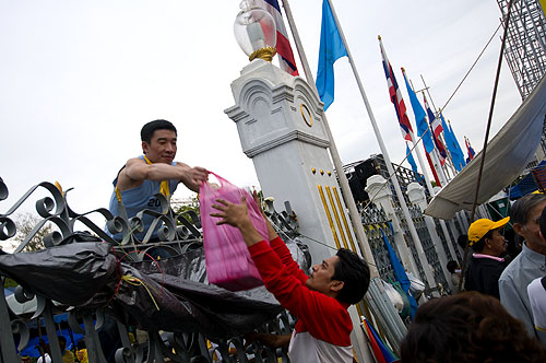 A food delivery for the protesters in front of Government House, Bangkok