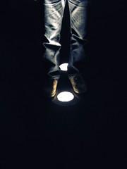 Stand (Atomic Citrocity) Tags: light boy guy shoes pants legs what lit creep