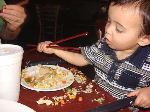 Benji using chopsticks