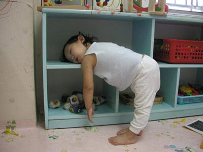 sleeping baby stands