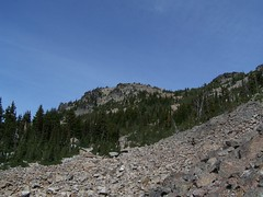 Looking up towards Esmerelda Peaks from basin.