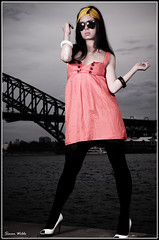 Red Dress by the Harbour (Simon Wilde Photography) Tags: lighting portrait sexy water girl fashion umbrella point model nikon shoot north sb600 sydney operahouse tamron harbourbridge speedlight softbox stands cls mcmahons d300 strobist 1750mm mywinners su800
