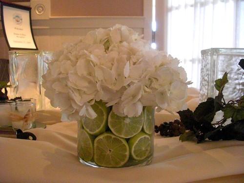 Hydrangea Wedding Centerpieces. A wedding centerpiece with