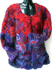 Freeform jacket by Prudence Mapstone (freeform by prudence) Tags: red purple crochet knit jacket wearableart cardigan garments designers freeform arttowear scrumble freeformcrochet freeformknitting crochetjacket prudencemapstone freestyleknitting knotjustknitting freestylecrochet
