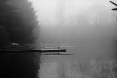 Misty Pond with Diving Board #1 (rob_valine) Tags: blackandwhite bw mist misty fog pennsylvania foggy rangefinder chestercounty photoshopelements20 kodaktrix400 inspiredbylove blackwhitephotos southeasternpennsylvania petri7srangefinder unlimitedphotos oneofmypics