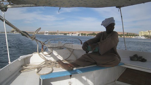 The Nubian captain at the rudder