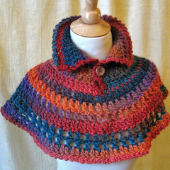 Hand Dyed Wool Capelet (KnittingGuru) Tags: blue red orange wool rose rust handmade oneofakind crochet wrap lilac cape multicolored poncho multicolor shrug capelet