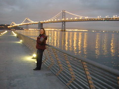 Sarah in front of Bay Bridge