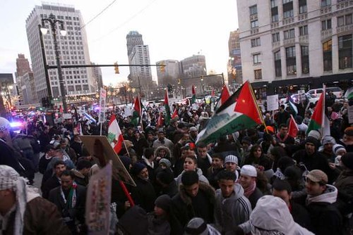 Thousands of Pro-Palestinian demonstators converge on Central United Methodist Church after a spirited march through downtown Detroit opposing the Israeli siege of Gaza. This protest was held on January 8, 2009. by Pan-African News Wire File Photos