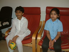 Gnana with the first guest (gopisettis) Tags: 2009 sankranti