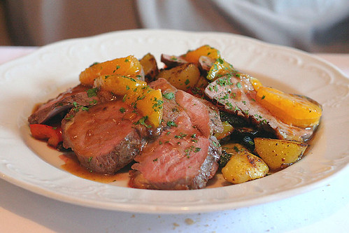 Duck breast with oranges