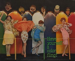 Have Yourself a Color Fling! (The Cardboard America Archives) Tags: pink blue woman yellow vintage ads advertising lingerie nylon 1959 slips chemstrand