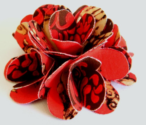 Fabric Flower - Flower Brooch/Pin or Hair Clip - Eclectic Layer