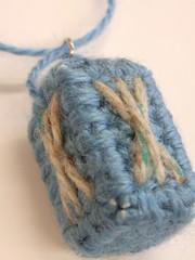 Ocean Blue Yarn Parallelogram Pendant (Pin Pals) Tags: handmade earring canvas plastic yarn cube pendant parallelogram