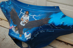 dean's fairing22 (Karen aka Romeo's Mom) Tags: sky painting christ jesus motorcycles flags lightening eagles fairing somegaveall christianflag
