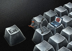 Shit, Another Spam! (Ben Heine) Tags: art illustration computer dark print yahoo google keyboard chat energy escape message traffic laptop spam report run science email prison madness gmail pollution jail environment sos waste dizzy copyrights hotmail virus internetexplorer prisoner kilowatt clavier ordinateur ict nuisance touches bagnard antispam softwares mozillafirefox nergie arobas hardwares echapper davidmarcus benheine fuir informationandcommunicationtechnologies mcafeeinc antiviruscarbonemissions infotheartisterycom