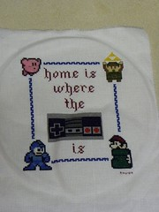 kirby and border added (Chickpea981) Tags: kirby crossstitch nintendo mario gift link zelda nes megaman 80skid oldschoolnes nintendocrossstitch