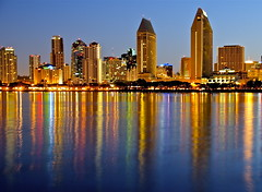 San Diego Skyline at Sunrise (ms4jah) Tags: city reflection skyline sunrise bay san flickr downtown cityscape diego tony coronado scape flickrmeet meet
