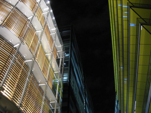 Office blocks by night