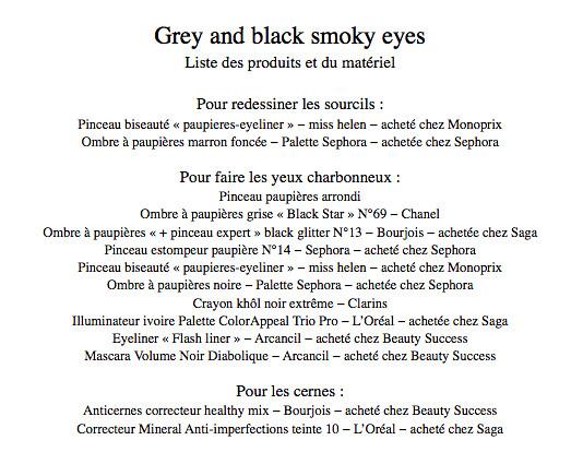 Yeux charbonneux - liste des produits