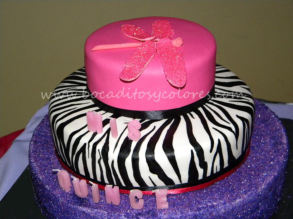 Zebra quinceañera cake