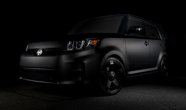 black car photoshop studio jonathan custom scion xb matte laberge strobist