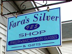Fara's Silver, York Beach, Maine (Jacques Trempe) Tags: york beach glass sign silver watch maine jewelry enseigne fara