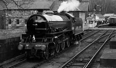 61306 Mayflower At Grosmont Station (saxman1597) Tags: england blackandwhite monochrome beauty station museum landscape nikon yorkshire transport railway historic steam locomotive sigma18125 mayflower steamlocomotive grosmont nymr nikond200 61306 historictransportation historictransport classictransport classiclocomotive 61306mayflower nymrsteamgala2013 b1loco nymrsteamgala10513
