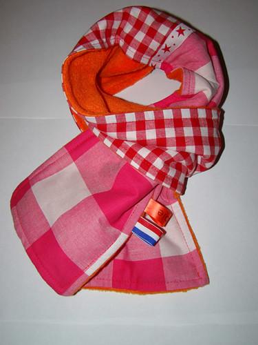 15mm oranje lint met paars bedrukt in Verdana_1