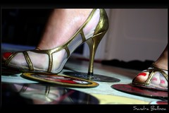 Tired of Dancing (LaMadrilea) Tags: music shoes highheels dancing discotheque picnik stilettos iloveshoes compactdisks woopwoop