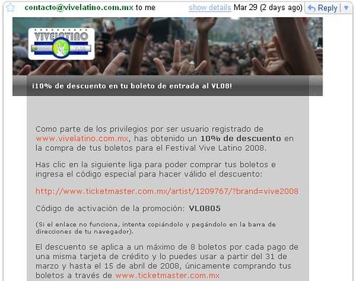 Vive Latino 2008, 10% de descuento