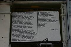 gracias (potato potato) Tags: gambling sign san francisco thankyou you gracias police thank drugs illegal sanfrancsico littering loitering urination intoxication harassment noises loun