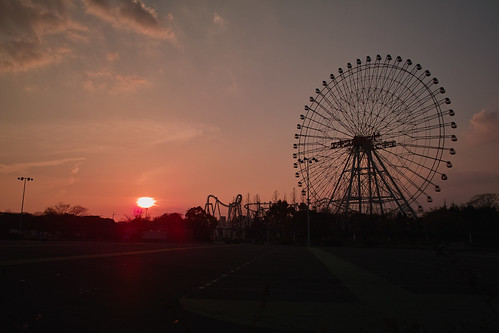 the sunset with a Ferris wheel