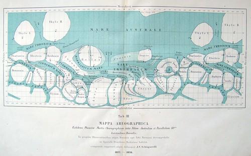 Mappa Areographica Mars Map 1878 Giovanni Schiaparelli